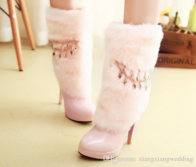 Zapatos de tacón alto Zapatos de boda Pelusa Espesar Invierno Tacón más delgado Botas de nieve Bota larga Cálida Novia