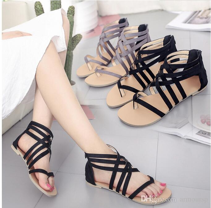 pre order buying cheap order 2018 Hot Womens Shoes Flat Heel Rome Sandals Sale Hollowed Sandals ...
