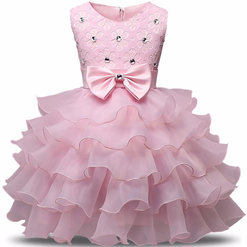 654be9f81 2019 Baby Girl 1 Year Birthday Dress Pink Party Bow Ruffles Beautiful Lace  Christening Gown Infant Princess Dress Flower Baby Dresses From Dejavui, ...