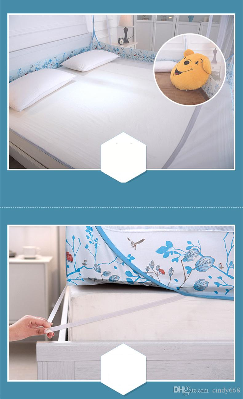 Portable Folding Mosquito Net Mongolian Yurt Insert Mesh Adult Bed Canopy Kids Moustiquaire Blue Foldable Tent Bed klamboe Nets 3 Sizes