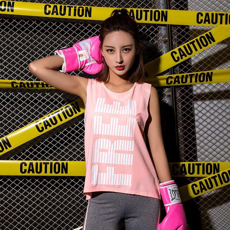 c5c8c4566835b Breathable Print Sport Shirt Women Sleeveless Yoga Shirts Fitness ...