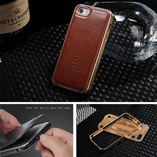 original fineday genuine leather back cover with premium aluminumoriginal fineday genuine leather back cover with premium aluminum metal frame case for apple iphone 5 5s se skin bag accessories fashion cell phone cases