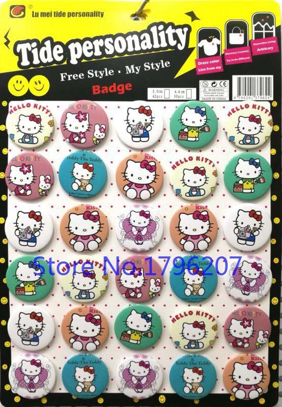95abeede0 2019 Wholesale Cartoon Hello Kitty Button 44MM Round Brooch Badge Kids S 9  From Chunyushi, $34.63 | DHgate.Com