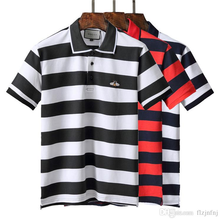2e5bc767e041 Mens Designer Striped Polo T Shirts 2018 New Tee Shirts Luxury Short ...