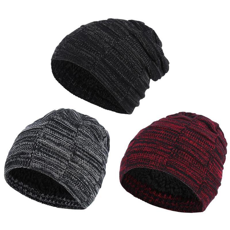 2018 Men Beanies Knit Hat Winter Cap For Man Knitted Cap Thicken ... 6d7b571344f6