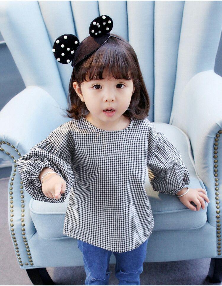 Girl's shirt 2017 autumn new woman baby pure cotton plaid shirt for children autumn blouses /loyt drop shipping