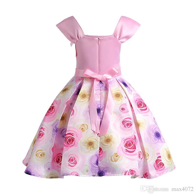 Élégante fille robe sans manches style Européen arc fleurs princesse robe pour 3-10ans filles enfants enfants parti robe de performance de mariage
