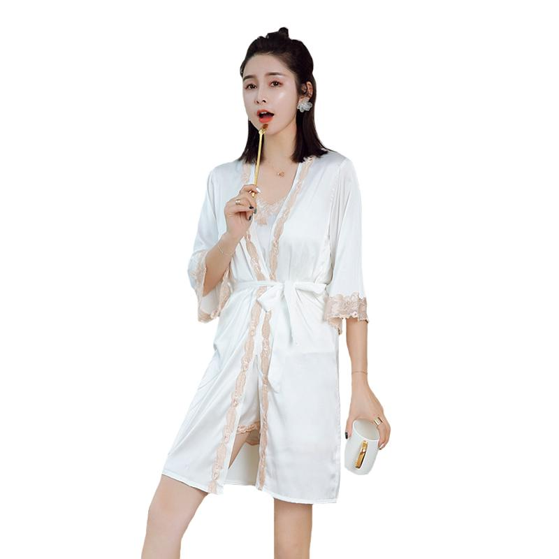 2019 Summer Silky Satin Top Amp Shorts Amp Robe Sleep Set Women Sexy Pajama  Pyjama Sets Lace Applique Trim Sleepwear Intimate Lingerie From  Clothesg009 cb3413e61