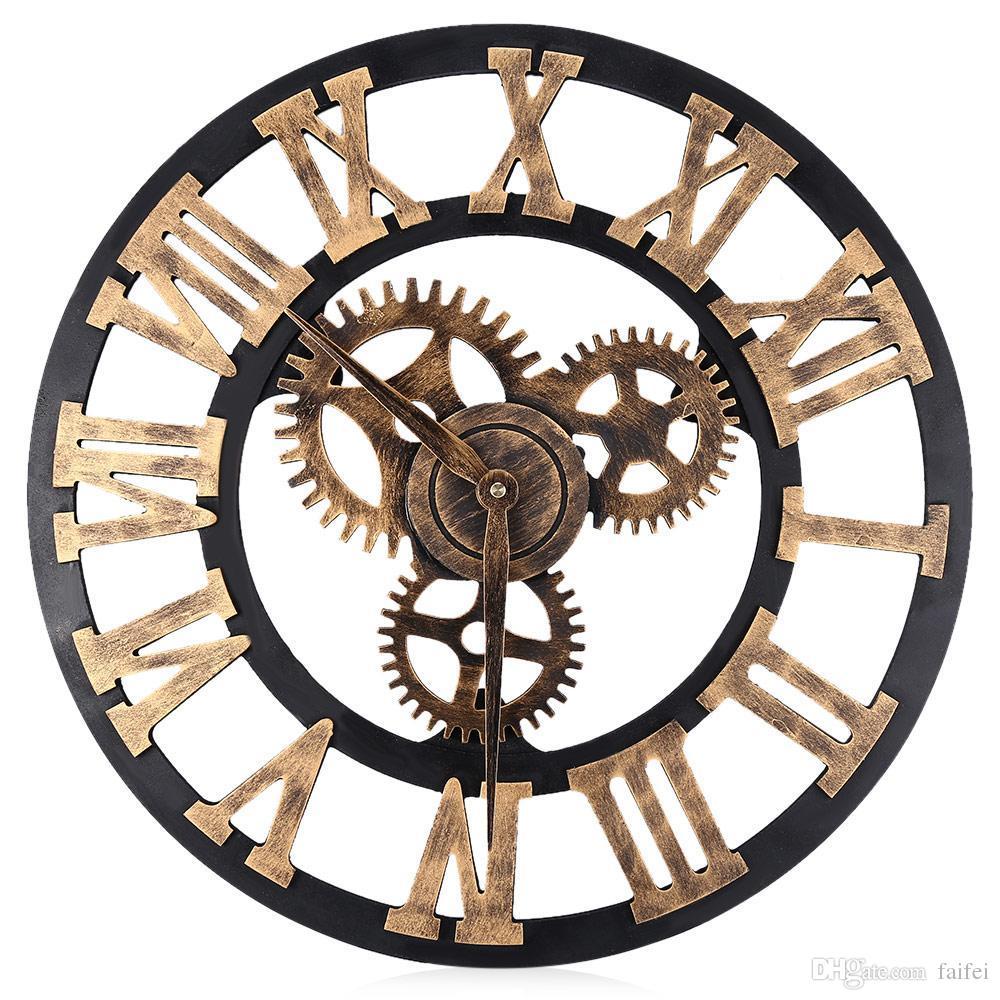 402f1e64116 Compre Relógios De Parede Digital Design 3D Grande Retro Decorativo Relógio  De Parede Arte Grande Engrenagem Algarismos Romanos Circular Relógio Da  Sala ...