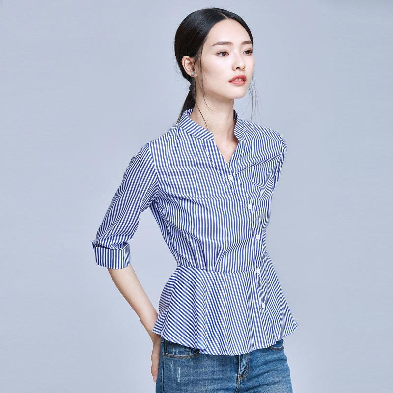 0519e64f0dc8e 2019 Blue And White Striped Shirt Women 2018 Summer Fashion Peter ...
