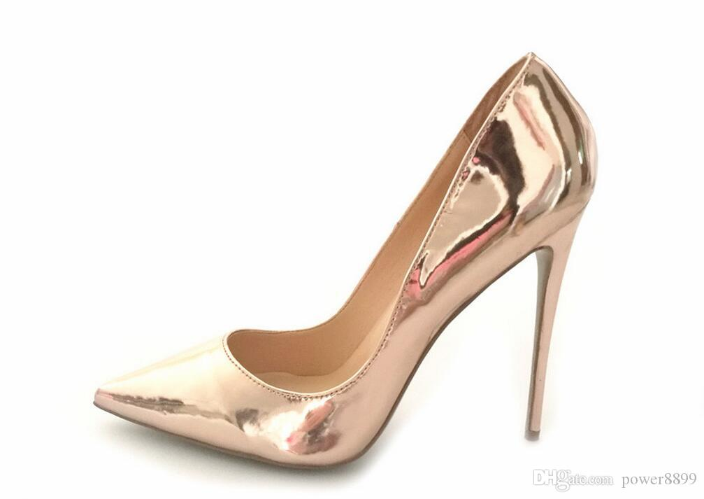 Women Sexy High Heels Pointed Toe Pumps Office Party Shoe Fashion Stiletto  Pump Patent Leather 8cm 10cm 12cm Silver Heels Dress Shoes From Power8899