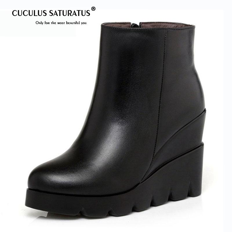 a89f3b90b8b Cuculus Women Leather Wedge Ankle Boots Short Boots High Wedges Heels Shoes  Woman Booties Black For Autumn Winter 1813 Red Boots High Heel Boots From  ...