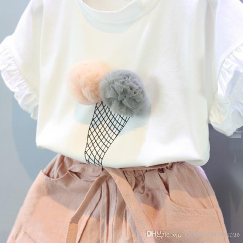 Sommer Mode Kinder Mädchen Kleidung Set Weiße Baumwolle Print Ice Cream Ball Gedruckt Kurzarm T-shirt und Bowknot Lose Shorts Anzug
