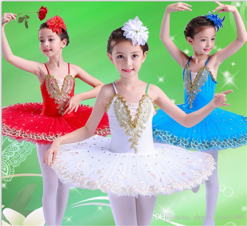 Ballet professionnel Tutu Enfant Swan Lake Costume Blanc Rouge Bleu Ballet Dress pour Enfants Crêpe Tutu Filles Danse