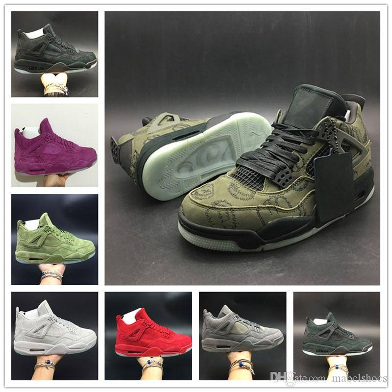 buy online 5c817 044eb KAWS Basketball Shoe 4s SHOE NAME Green Purple Red Cool Grey Black Beige  Suede Graffiti Designer Mens Sport Sneaker