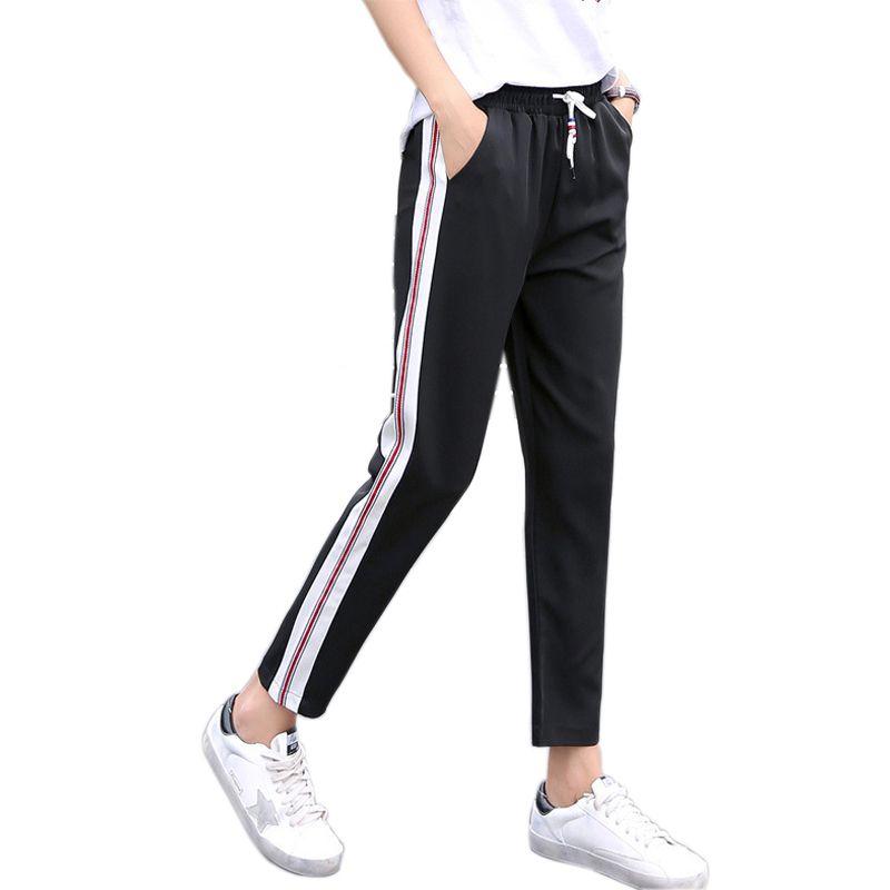 4fd663189b8 2017 New Arrival Side Striped Harem Pants Women Elastic High Waist  Sweatpants Joggers Women Black Casual Pants Trousers Women Online with   34.56 Piece on ...
