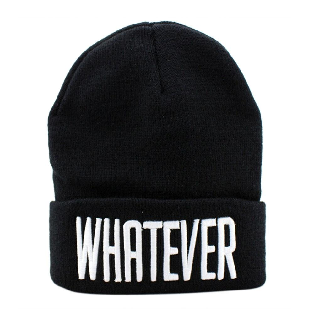e67449ee46a 2019 2017 New Fashion Winter Black Whatever Letter Beanie Hat And Snapback  Men And Women Cap Knitting Wool Hats For Men Winter Hat From Yiquanwater