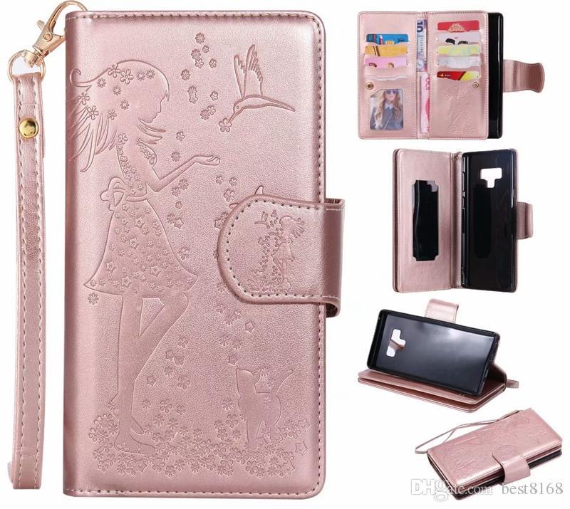 fd04a142f Accesorio Para Celulares Funda Billetera De Cuero Para Iphone XS MAX XR  Galaxy Note 9 J3 J4 J6 J6 J7 Dúo A6 2018 ID 9 Tarjeta Multifunción Espejo  Chica ...