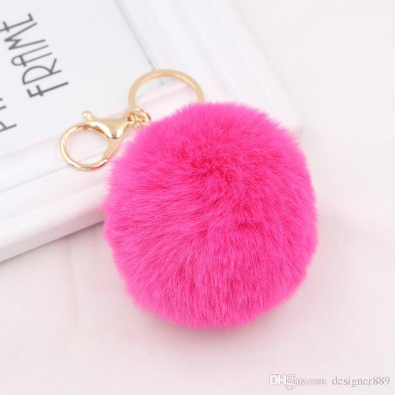 Kabarık Faux Tavşan Kürk Topu Charm Pom Pom Araba Anahtarlık Çanta Anahtarlık 18 Renkler ücretsiz Kargo
