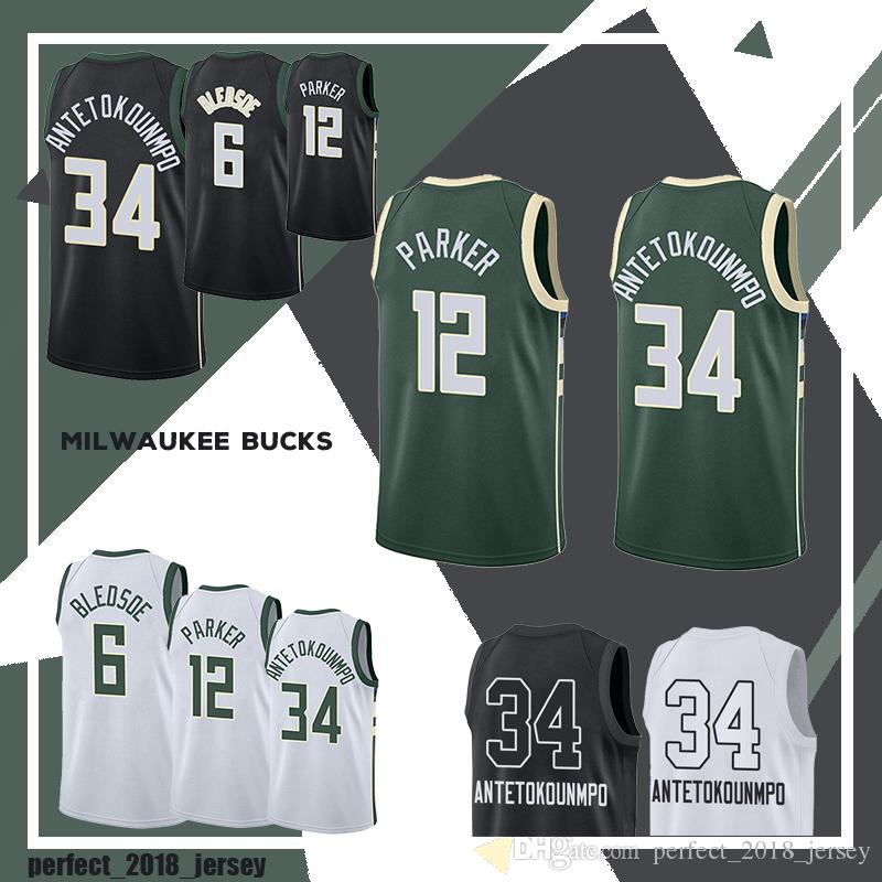 12e0fe72d Wholesale 2018 New 34 Giannis Antetokounmpo Basketball Jerseys 12 ...