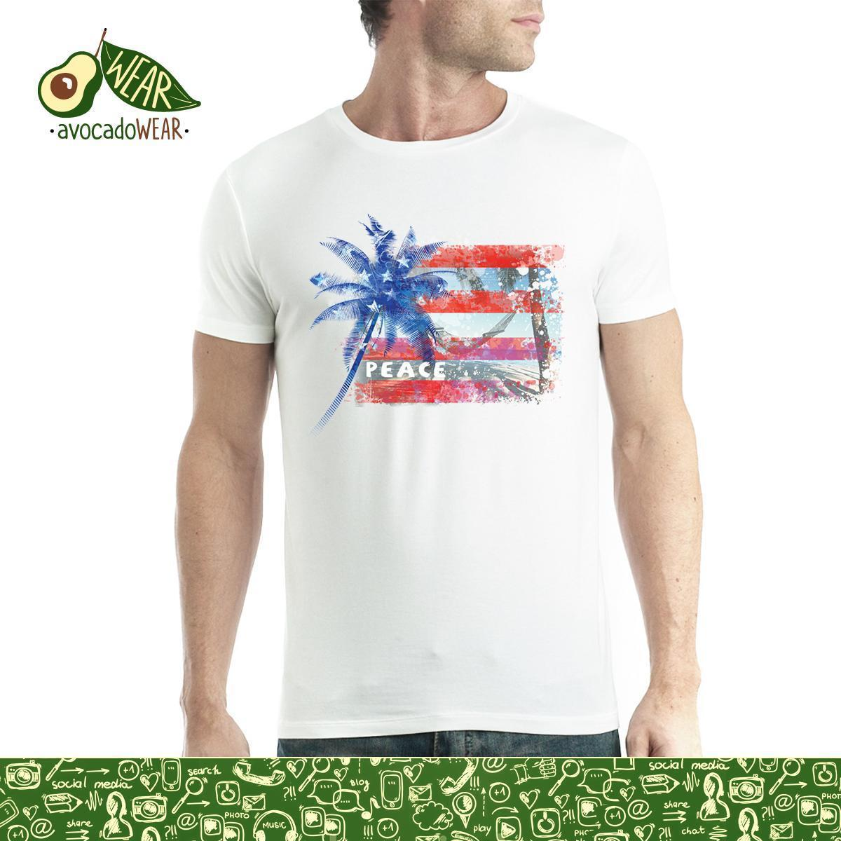 3b69a90a3c6 Peace Palm America Flag Usa Men T Shirt S 3xl T Shirts Funny Tops Tee New  Unisex High Quality Casual Printing 100% Cotton Raid Shirt T Shirts In A  Day From ...