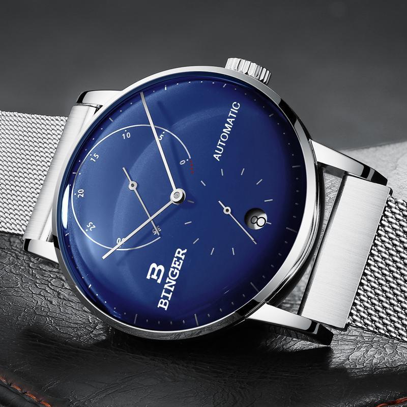 1307f27e921 Compre Suíça BINGER Homens Relógio De Luxo Da Marca Mecânica Automática  Mens Relógios De Safira Masculino Japão Movimento Reloj Hombre B 1187 3 De  ...