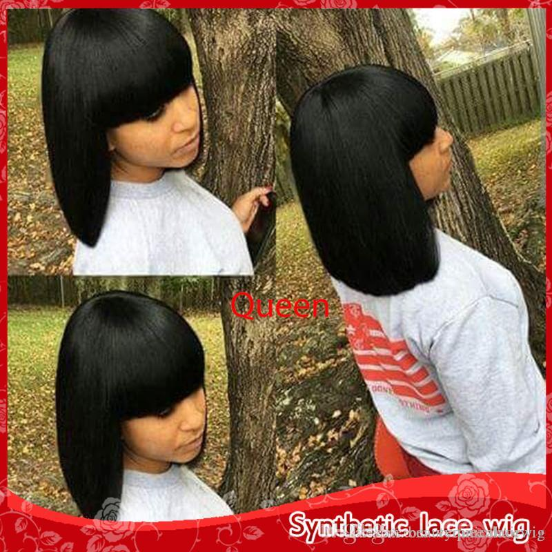 Wholesale Cute Black Short Straight Bob Wigs For Black Women Heat Resistant  Glueless Synthetic None Lace Wigs With Bang High Quality Funky Wigs Luxury  Lace ... ac82dad76