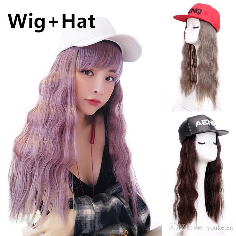 Hair+Hat 20inch Women S Fashion Synthetic Hair Extensions With Hat Loose  Wave Hair Pieces On Cap UK 2019 From Youkeien a2ae6d8956