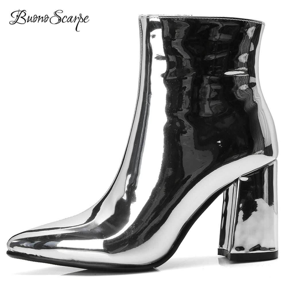 bff13aad667 BuonoScarpe Women Ankle Boots Mirror Leather 2018 Dress Shoes Chunky High  Heel Botas Mujer Silver Gold Booties Pointed Toe Boots Booties Football  Boots From ...