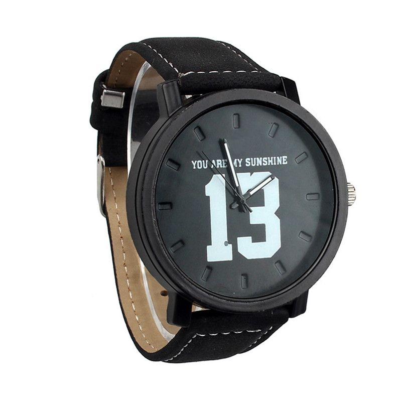 Nueva Moda Reloj El Faux Pulsera Cuero Número Cuarzo Banda 14 Vendedor Caliente Hombres Y Los Con Lujo Para 13 De Negro Hombre ilkZuwPTOX