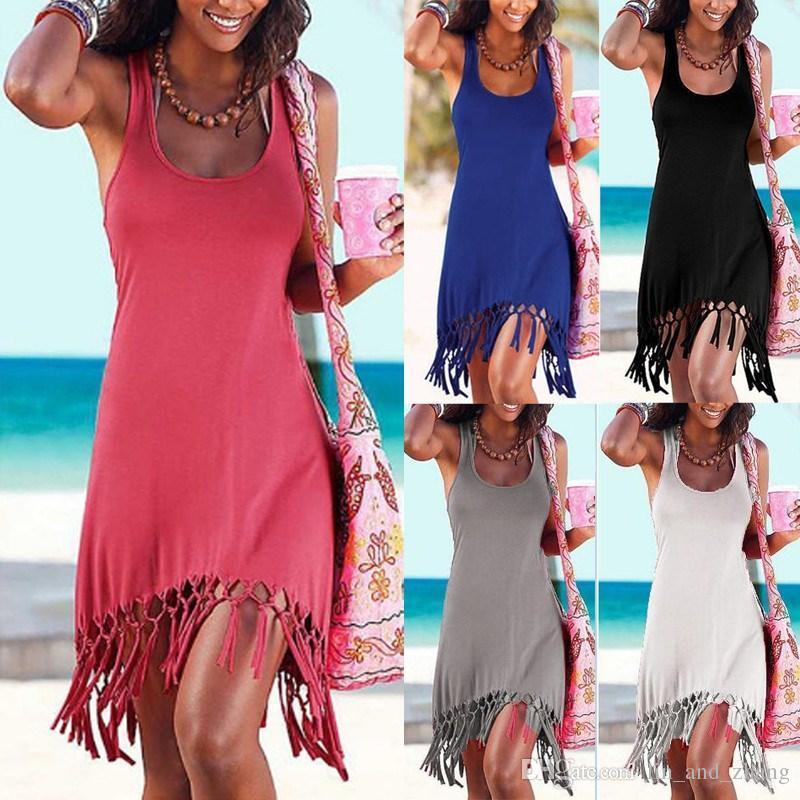 Women Summer Style Beach Dress Casual Sleeveless Vestidos Vest Tanks ... 4699501d4