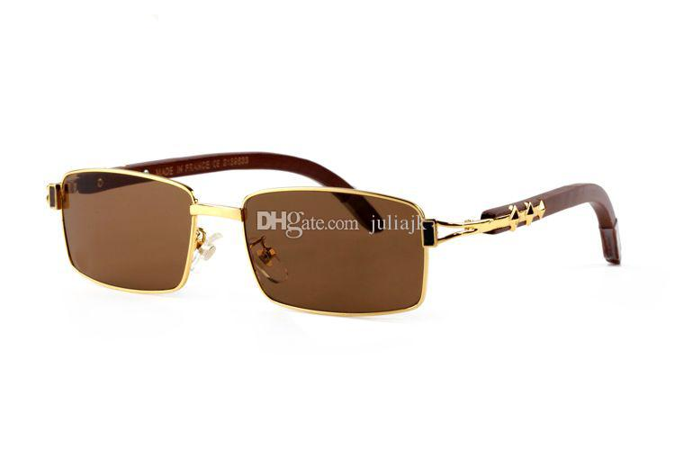 New Full Frame Glasses Wooden Buffalo Horn Glasses Brand Optical Sunglasses Women Silver Gold Wood Glasses Carving Eyewear Frames With box