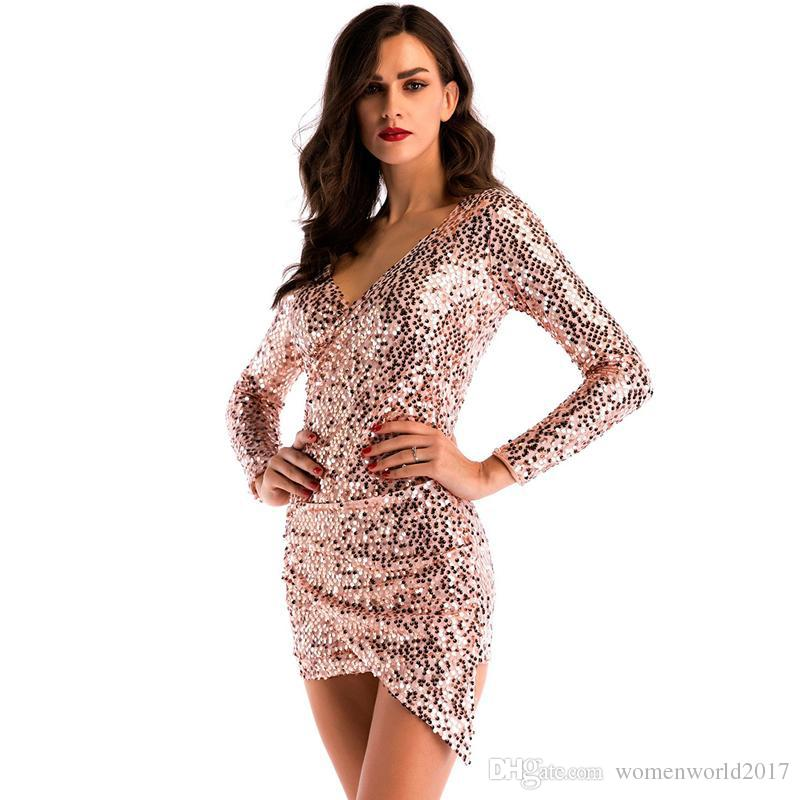 New Arrival Long Sleeve Mini Asymmetric Dress Women Sexy Bling Night Club Dress V-Neck Short Bodycon Cocktail Party Dresses