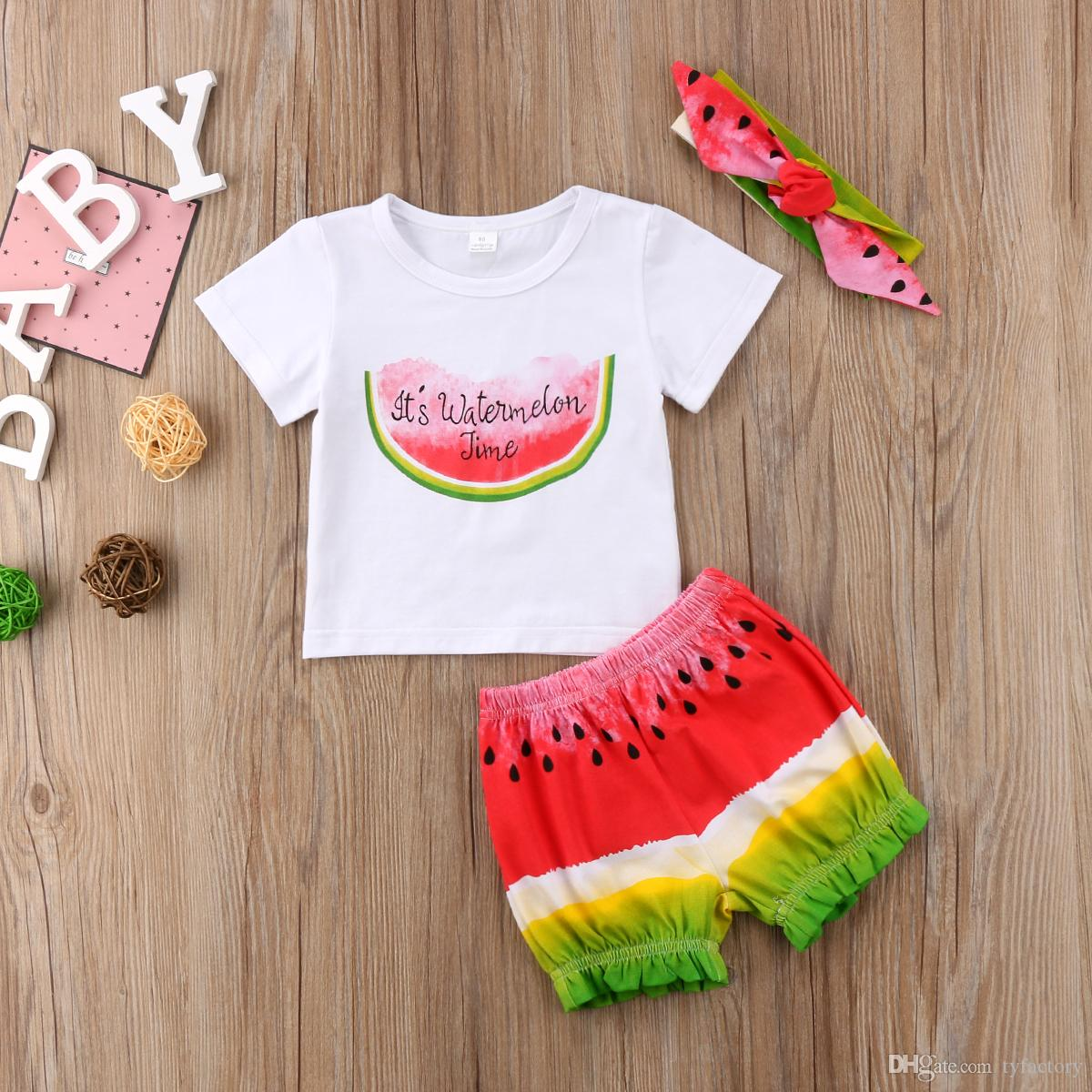 5b8be9ab1 Summer Baby Girls Clothes Watermelon Time T-shirt+Shorts+Headband 3PCS  Outfits Set Fashion Kid Clothing Toddler Girls Clothes 0-3T