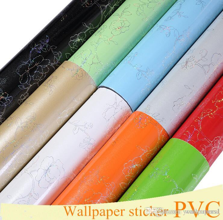 Pearl White Wallpapers DIY Decorative Film PVC Waterproof Self adhesive Wall paper Furniture Renovation Stickers Kitchen Cabinet