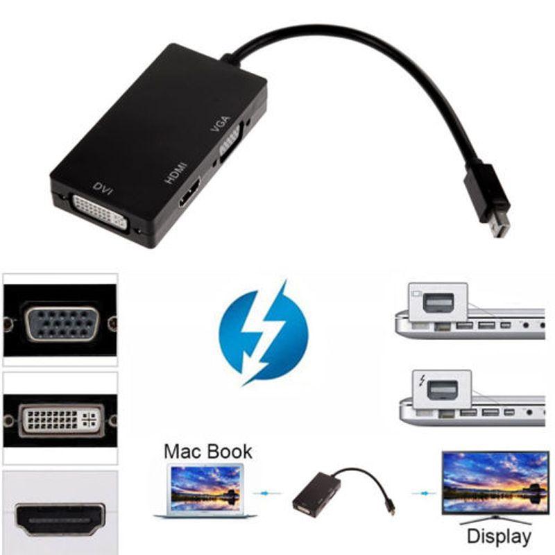 3 in 1 Mini DP to DVI VGA HDMI Converter Cable 1080P Mini Display Port Thunderbolt Adapter for Apple MacBook Pro Air
