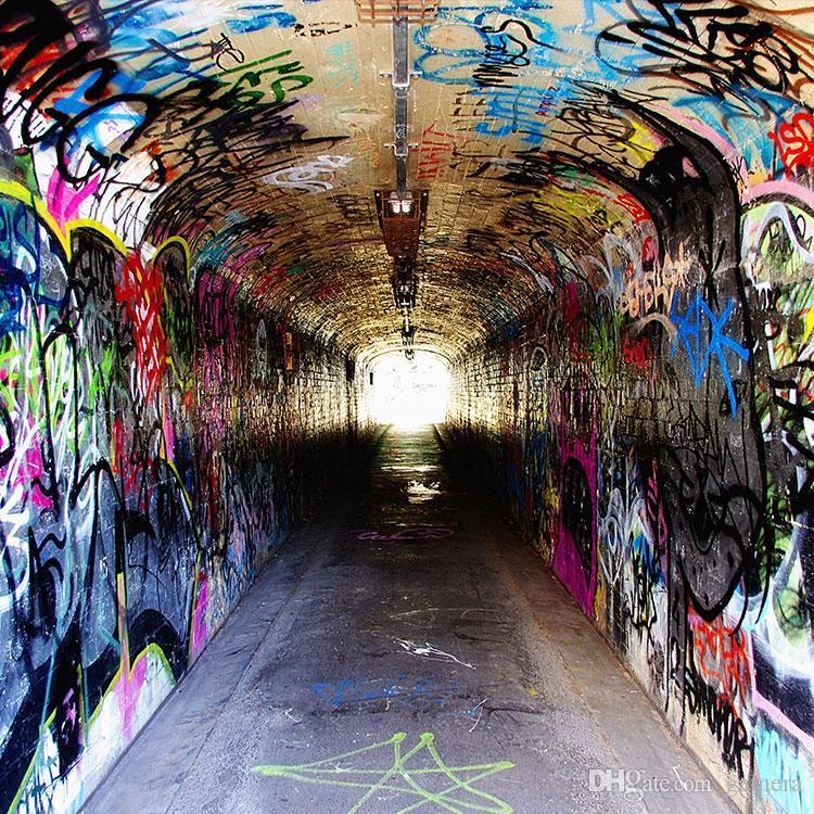 Wholesale 3d European Style Retro Graffiti Tunnel Mural Living Room