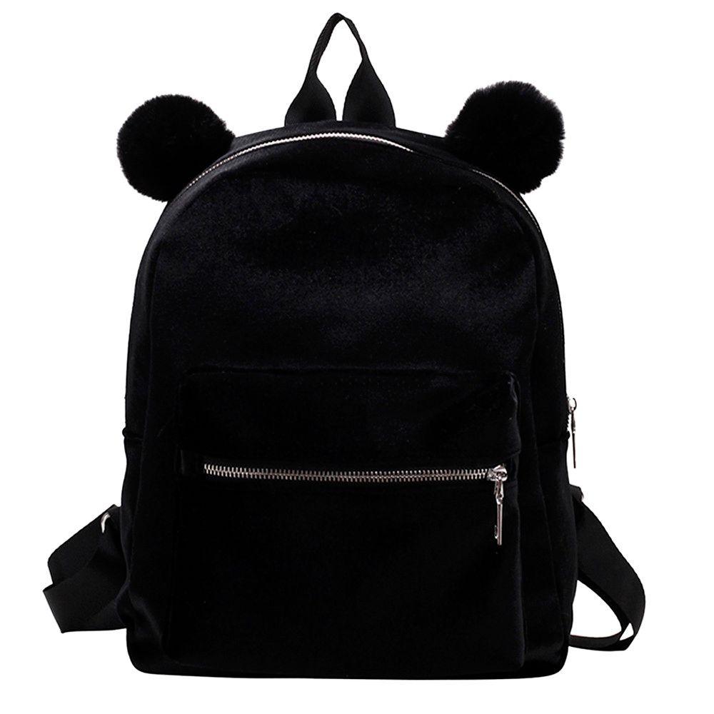 f5c5d4a5bc New Autumn Winter Fashion Women Girl Velour Backpack Solid Student Hairball  Travel School Crossbody Bag Hand Bag Dropshipping Rucksack Jansport  Backpacks ...