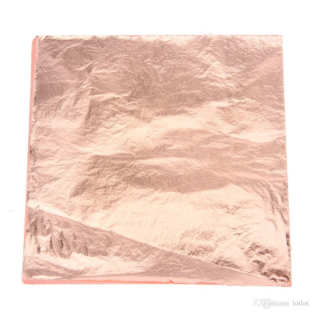 공예 종이 모조 금 은화 한 구리 잎은 포탄 공예 장식을위한 포일 종이 예술 공예를 남겨둔다 14x14cm