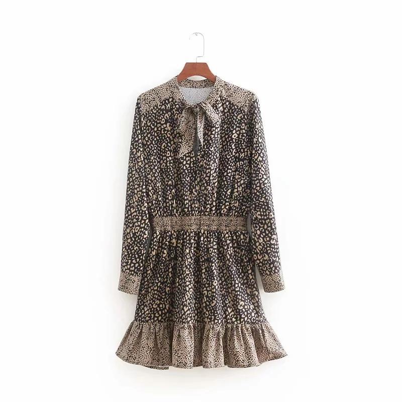 4e9c7ff19ac6 LUJIA ALAN Women Leopard Print Stitching Ruffled Hem Mini Dress Casual Long  Sleeves Dresses Fashion Female Loose Vestidos LD1257 Evening Dresses Plus  Size ...