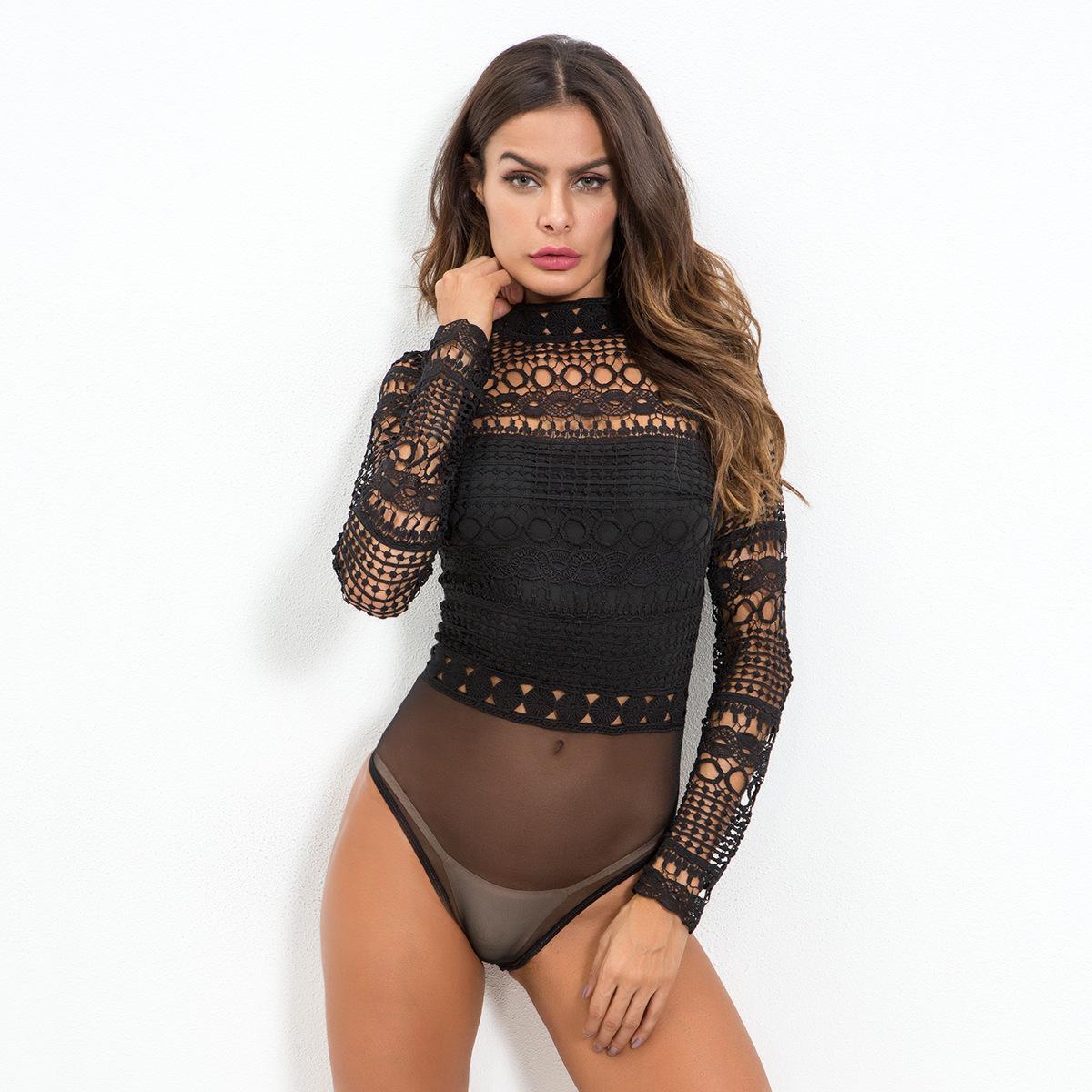 Acheter Sexy Noir Blanc Dentelle Maille Crochet Body Femmes Creuser Col  Roulé À Manches Longues Barboteuses Corps Combinaison Femme D hiver Tops  Combinaison ... ae4c9a2ec2d