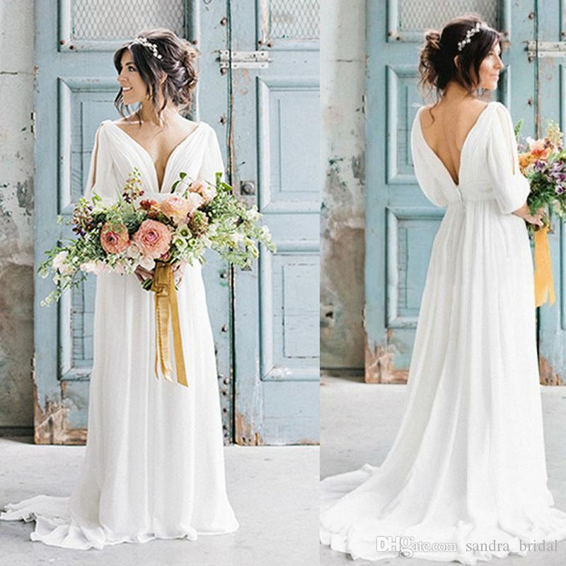 Discount Country Style Boho Beach Wedding Dress 2018 Open Back ...
