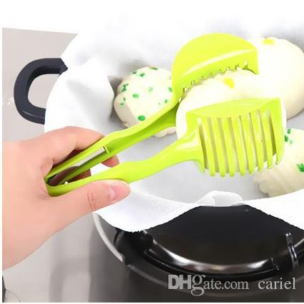 Multifuctional Tomato Lemon Cutter Fruit Cutter Clip Food Tong orange Slicer Tools Vegetable Cutter Random Color h114