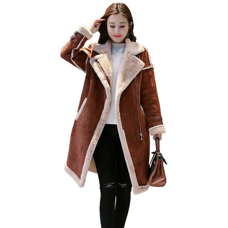 quality design d3a05 b1de9 Giacca in pelle scamosciata invernale Cappotto donna Parka Warm in lana  scamosciata a maniche lunghe Cappotto in lana di Jaqueta Feminina