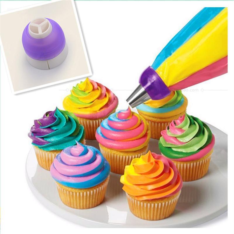 Wholesale- 1 pcs 3 Holes Cake Decoration Converter Mix 3 Colors Icing  Piping Nozzle Converter For Cupcake Nozzle Converter Connector