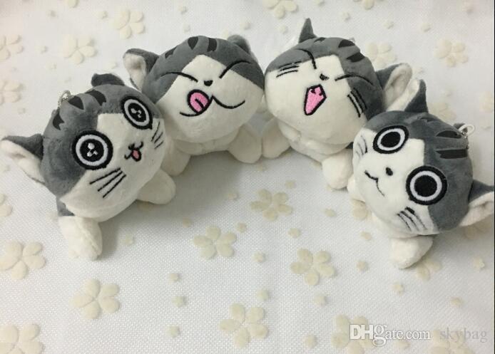 YENI Kawaii 4 Tasarımlar-Orta 9 CM Oturan KEDI Peluş OYUNCAK BEBEK, Dolması Hayvan Kedi anahtarlık Kolye Bebek Hediye Peluş Oyuncaklar