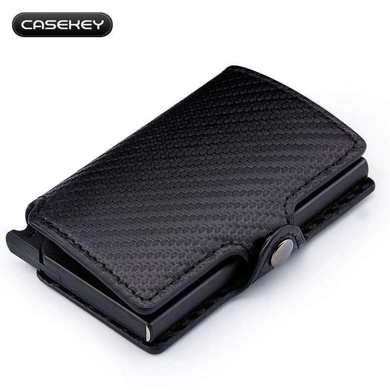gran selección de 50fd1 31d1f Billetera RFID de cuero de fibra de carbono con tarjeta de titular de ID de  crédito Monedero de bolsillo para hombres con función antirrobo Caja de ...