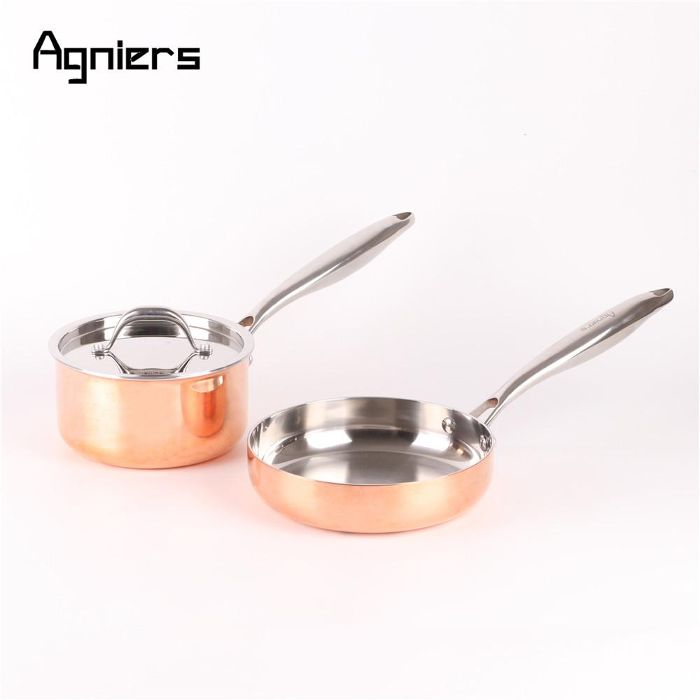High Quality 3pcs Cookware Set Five -Ply Copper Clad Steel 16cm Sauce Pan +20cm Frying Pan