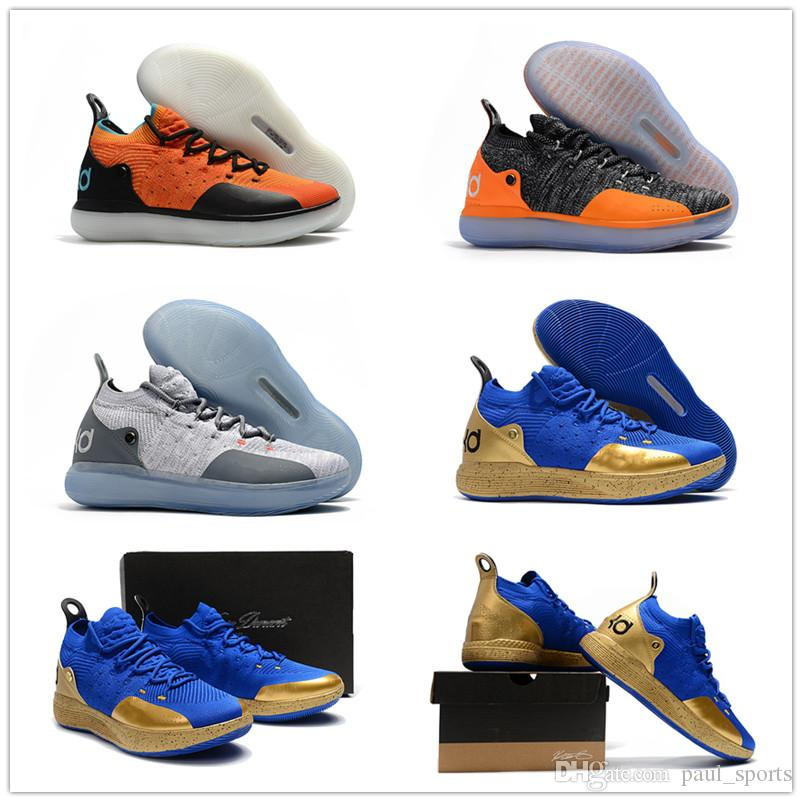 KD XI 11 Black Grey Orange Kevin Durant Basketball Shoes For Top Quality  11s KD11 Men Classic Sports Sneakers Size 40 46 Mens Sneakers Basketballs  From ... 9e6c1c973