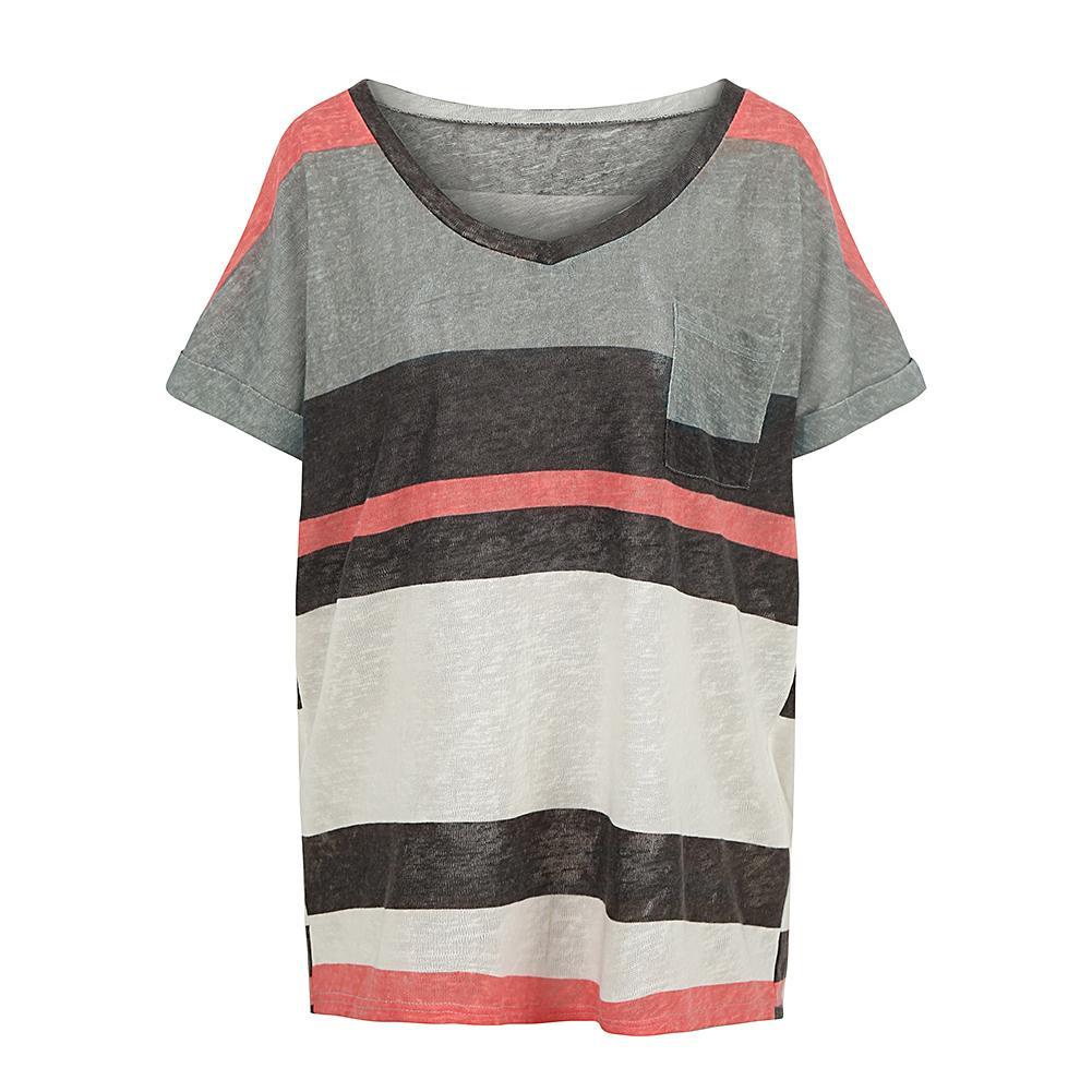 c9478dcdae7 Anself Plus Size Tops Female Casual Summer Women Loose T Shirt Striped  Short Sleeves V Neck Pocket Elegant T Shirt Pullover Grey Patriotic T Shirts  Funny ...
